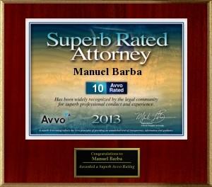 AVVO Superb Lawyer award manuel j. barba