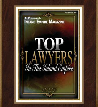 """Top Lawyers"" award by Inland Empire Magazine in both 2012, 2013 and again for 2014."